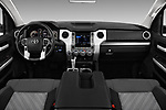 Stock photo of straight dashboard view of a 2018 Toyota Tundra TRD Sport Crew 4 Door Pick Up