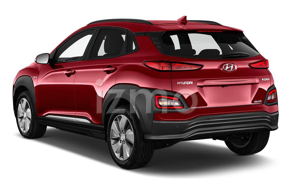 Car pictures of rear three quarter view of a 2019 Hyundai Kona EV Sky 5 Door SUV angular rear