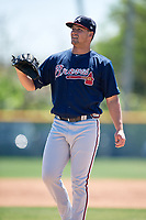 Atlanta Braves pitcher Tanner Allison (55) during a minor league Spring Training game against the Pittsburgh Pirates on March 13, 2018 at Pirate City in Bradenton, Florida.  (Mike Janes/Four Seam Images)