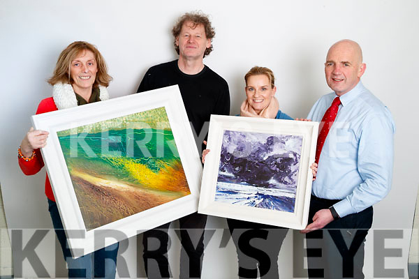 Winners of the Kerry's Eye/John Hurley Painting Draw were presented with their prizes at Kerry's Eye in Tralee on Tuesday, from left: Margaret Curtin, Killarney, John Hurley, Lisa O'Connell, Abbeydorney and Brendan Kennelly, Kerry's Eye.