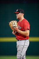 Erie SeaWolves first baseman Blaise Salter (24) during a game against the Binghamton Rumble Ponies on May 14, 2018 at NYSEG Stadium in Binghamton, New York.  Binghamton defeated Erie 6-5.  (Mike Janes/Four Seam Images)
