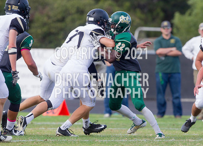 Palos Verdes, CA 10/17/14 - Omar Morrison (Mira Costa #22) and Steven Smith (Peninsula #3) in action during the Mira Costa vs Palos Verdes Peninsula CIF Varsity football game at Peninsula High School.  Mira Costa defeated Peninsula 38-27.