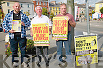 People Before Profit : Collecting signatures in their campaign against household charges in Listowel on Saturday last Brian Finnucane, Tom Donovan & Tony Ulgee.