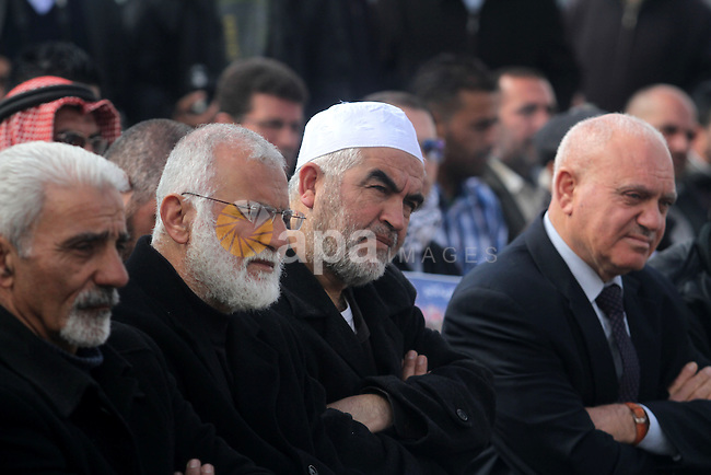 Sheikh Raed Salah, the leader of the Islamic Movement in Israel, attends a demonstration in support with Palestinian prisoners held in Israeli jails, some of whom are observing a hunger strike, in the West Bank city of Ramallah on February 11, 2013. Photo by Issam Rimawi
