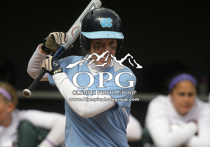 23 May 2010:   University of North Carolina #12 Kellie Wheeler sets up in the batters box against Washington. Washington defeated the University of North Carolina 2-1 in eight innings at Husky Softball Stadium in Seattle, WA to advance in the NCAA regional tournament.