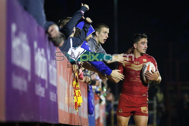 Picture by Alex Whitehead/SWpix.com - 06/05/2016 - Rugby League - 2016 Ladbrokes Challenge Cup, Sixth Round - Batley Bulldogs v Catalans Dragons - The Fox's Biscuits Stadium, Batley, England - Catalans' Tony Gigot celebrates his try.