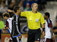 Chris Wondolowski of Earthquakes argues with the referee about a missed call during the game against Rapids at Buck Shaw Stadium in Santa Clara, California on August 25th, 2012.   San Jose Earthquakes defeated Colorado Rapids, 4-1.