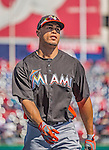 1 April 2013: Miami Marlins outfielder Giancarlo Stanton awaits his turn in the batting cage prior to the Opening Day Game against the Washington Nationals at Nationals Park in Washington, DC. The Nationals shut out the Marlins 2-0 to launch the 2013 season. Mandatory Credit: Ed Wolfstein Photo *** RAW (NEF) Image File Available ***