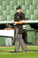 Home plate umpire Jake Wilburn updates his lineup card as the Kannapolis Intimidators make a pitching change during the South Atlantic League game against the Savannah Sand Gnats at CMC-Northeast Stadium on May 30, 2013 in Kannapolis, North Carolina. The Sand Gnats defeated the Intimidators 8-2 in the completion of a game that was suspended on May 3, 2013 in Savannah, Georgia.   (Brian Westerholt/Four Seam Images)