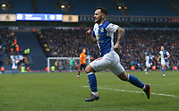 Blackburn Rovers' Adam Armstrong celebrates scoring his side's equalising goal to make the score 2-2<br /> <br /> Photographer Stephen White/CameraSport<br /> <br /> The EFL Sky Bet League One - Blackburn Rovers v Oldham Athletic - Saturday 10th February 2018 - Ewood Park - Blackburn<br /> <br /> World Copyright &copy; 2018 CameraSport. All rights reserved. 43 Linden Ave. Countesthorpe. Leicester. England. LE8 5PG - Tel: +44 (0) 116 277 4147 - admin@camerasport.com - www.camerasport.com