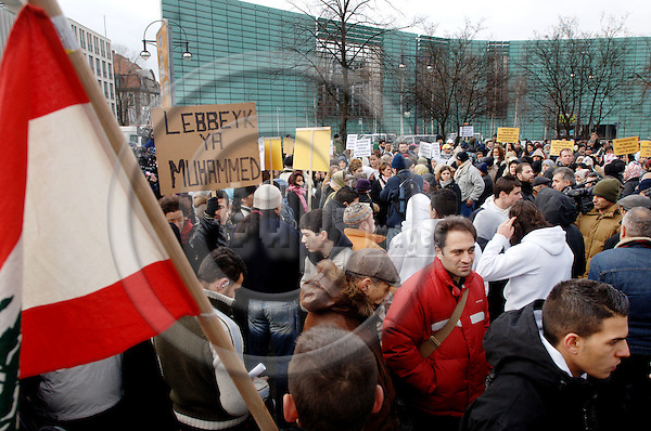 """BERLIN - GERMANY 11. FEBRUARY 2006 -- NORWAY OUTDemonstration in front of the Nordic embassies in Berlin. Around 1200 people of mostly Turkish origin demonstratet against the publishing of the Mohammed cartoons in Danish and Norwegian  newspapers -- PHOTO: GORM K. GAARE / EUP- IMAGES ..This image is delivered according to terms set out in """"Terms - Prices & Terms"""". (Please see www.eup-images.com for more details)."""