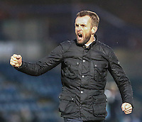 Nathan Jones (Manager) of Luton Town celebrates victory against Wycombe Wanderers after the Sky Bet League 2 match between Wycombe Wanderers and Luton Town at Adams Park, High Wycombe, England on 6 February 2016. Photo by David Horn.