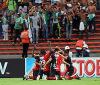 MEDELLêN -COLOMBIA-09-11-2013.  Gonzalo Pizzichillo (Centro) del Cucuta Deportivo celebra su gol  contra el Atletico Nacional durante partido de la 18 fecha del la Liga Postob—n 2013-1 realizado en el estadio Atanasio Girardot de Medell'n./  Gonzalo Pizzichillo (center) of Cucuta Deportivo celebrates his goal against Atletico Nacional during the 18th game of the League Postob—n date 2013-1 made ??in the Atanasio Girardot stadium in Medellin.  Photo:VizzorImage / Luis Rios / Stringer