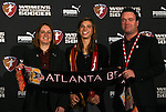 15 January 2010: Tobin Heath was selected with the #1 overall pick by the Atlanta Beat. From left: Tonya Antonucci, Tobin Heath, and Gareth O'Sullivan. The 2010 WPS Draft was held at Pennsylvania Convention Center in Philadelphia, PA during the NSCAA Annual Convention.