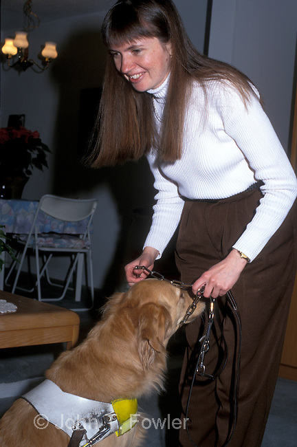 Blind woman with guide dog challenged