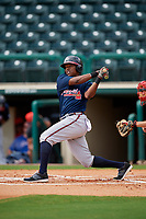 Atlanta Braves Jeremy Fernandez (27) follows through on a swing during a Florida Instructional League game against the Canadian Junior National Team on October 9, 2018 at the ESPN Wide World of Sports Complex in Orlando, Florida.  (Mike Janes/Four Seam Images)