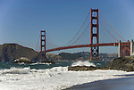 San Francisco: Baker Beach with Golden Gate Bridge in background.  Photo # 2-casanf83343.  Photo copyright Lee Foster