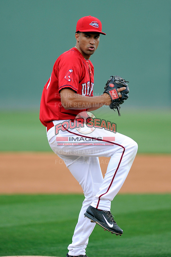 Pitcher Williams Jerez (35) of the Greenville Drive during a Media Day first workout of the season on Tuesday, April 7, 2015, at Fluor Field at the West End in Greenville, South Carolina. (Tom Priddy/Four Seam Images)