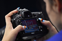 A photographer with painted nails  <br /> Budapest 13/01/2020 Duna Arena <br /> GERMANY (white caps) Vs. NETHERLANDS (blue caps)<br /> XXXIV LEN European Water Polo Championships 2020<br /> Photo  © Andrea Staccioli / Deepbluemedia / Insidefoto