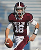 Jack Bill #16, Garden City quarterback, scrambles away from pressure during the Nassau County varsity football Conference II final against Carey at Hofstra University on Saturday, Nov. 19, 2016.