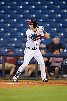 Mississippi Braves third baseman Daniel Lockhart (17) at bat during a game against the Mobile BayBears on May 7, 2018 at Trustmark park in Pearl, Mississippi.  Mobile defeated Mississippi 5-0.  (Mike Janes/Four Seam Images)