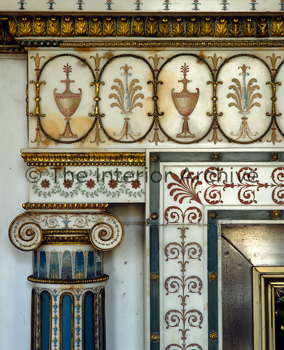 A detail of the inlaid marble fireplace in the Private Drawing Room at Syon House