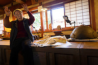 Potter and Living National Treasure Isezaki Jun in his workshop, Bizen city, Okayama Prefecture, Japan, February 2, 2014. The city of Bizen in central Japan is famous for Bizen-ware pottery. It is also one of Japan's main traditional sword making regions, home to Osafune sword-makers and polishers.