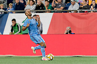 FOXBOROUGH, MA - SEPTEMBER 29: Heber #9 of New York City FC offside during a game between New York City FC and New England Revolution at Gillette Stadium on September 29, 2019 in Foxborough, Massachusetts.