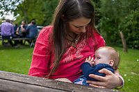 Image from the breastfeeding collection of the &quot;We Do It In Public&quot; documentary photography picture library project: <br />  www.breastfeedinginpublic.co.uk<br /> <br /> <br /> Hampshire, England, UK<br /> 19/06/2013<br /> <br /> &copy; Paul Carter / wdiip.co.uk