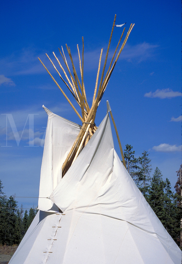 Western scene. A white American Indian tepee or house, with its wooden supports exposed and joined at the top, has been erected on the grounds of the Grizzly Discovery Center. West Yellowstone Idaho, Grizzly Discovery Center.