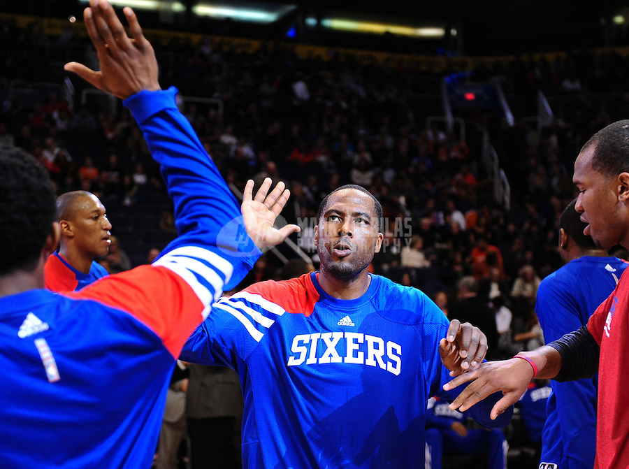 Dec. 28, 2011; Phoenix, AZ, USA; Philadelphia 76ers forward Elton Brand before game against the Phoenix Suns at the US Airways Center. The 76ers defeated the Suns 103-83. Mandatory Credit: Mark J. Rebilas-USA TODAY Sports