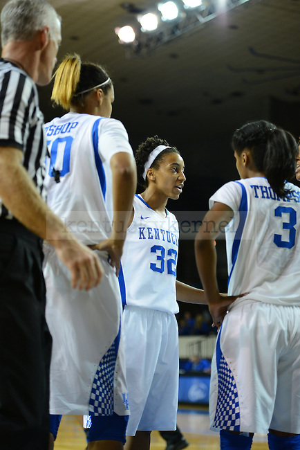 UK guard Kastine Evans (32) brings the team into a huddle before a free throw during the second half of UK hoops vs Eckerd College at Memorial Coliseum in Lexington, Ky., on Sunday, November 3, 2013. Photo by Eleanor Hasken | Staff