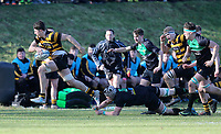 Saturday 17th February 2018   RBAI vs Sullivan<br /> <br /> David McCann races clear to score his second try during the Ulster Schools' Cup Quarterfinal between RBAI and Sullivan at Cranmore Park, Belfast, Northern Ireland. Photo by John Dickson / DICKSONDIGITAL