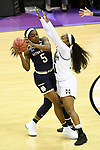 COLUMBUS, OH - APRIL 1: Jackie Young #5 of the Notre Dame Fighting Irish looks for an open pass as Roshunda Johnson #11 of the Mississippi State Bulldogs defends during the championship game of the 2018 NCAA Division I Women's Basketball Final Four at Nationwide Arena in Columbus, Ohio. (Photo by Justin Tafoya/NCAA Photos via Getty Images)
