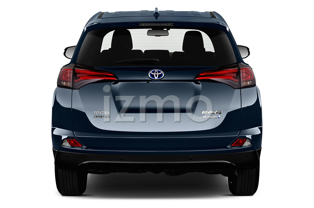 Straight rear view of a 2018 Toyota RAV4 Black edition Hybride 5 Door SUV stock images