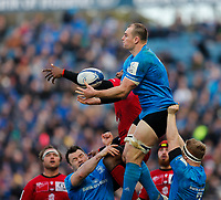 12th January 2020; RDS Arena, Dublin, Leinster, Ireland; Heineken Champions Cup Rugby, Leinster versus Lyon Olympique Universitaire; Rhys Ruddock of Leinster collects the kickoff ball - Editorial Use