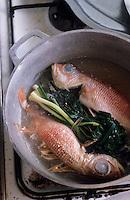 Europe/France/DOM/Antilles/Petites Antilles/Guadeloupe/Pointe-à-Pitre : Chez Monique Vulgaire de l'association des cuisinières - Blaff de cardinal sorte de court bouillon de poisson