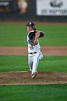 Pioneer League All-Star Connor Grey (38) of the Missoula Osprey delivers a pitch to the plate against the Northwest League All-Stars at the 2nd Annual Northwest League-Pioneer League All-Star Game at Lindquist Field on August 2, 2016 in Ogden, Utah.The Northwest League defeated the Pioneer League 11-5.  (Stephen Smith/Four Seam Images)