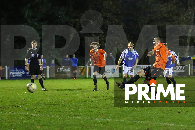 Ash Mead of Ampthill town scores an equalising goal from the penalty spot against Flitwick Town to make it 1-1 during the Beds Senior Trophy Quarter Final at Ampthill Stadium, Bedfordshire, England on 12 December 2015. Photo by David Horn/PRiME Media Images