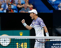 8th January 2020; RAC Arena, Perth, Western Australia; ATP Cup Australia, Perth, Day 6; Spain versus Japan; Go Soeda of Japan reacts to winning a point against Spain in the doubles - Editorial Use