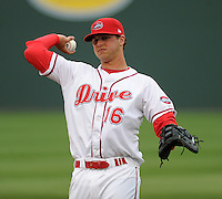 First baseman David Renfroe (16) of the Greenville Drive prior to a game against the Lakewood BlueClaws on Opening Day, April 5, 2012, at Fluor Field at the West End in Greenville, South Carolina. (Tom Priddy/Four Seam Images)