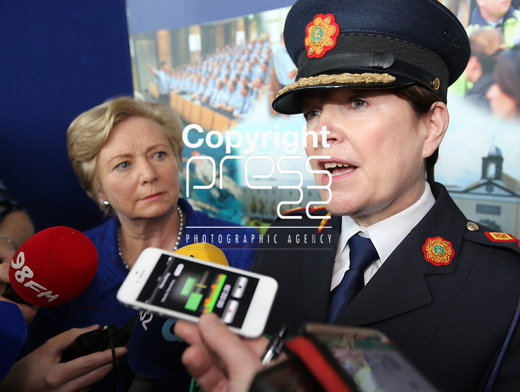 15/9/2014    The Minister for Justice & Equality Frances Fitzgerald, TD and Garda Commissioner Noirin O'Sullivan met with the press in Templemore.  Picture Liam Burke Press 22