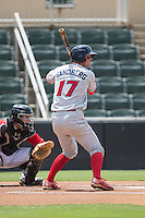 Cord Sandberg (17) of the Lakewood BlueClaws at bat against the Kannapolis Intimidators at CMC-Northeast Stadium on May 17, 2015 in Kannapolis, North Carolina.  The Intimidators defeated the BlueClaws 4-1.  (Brian Westerholt/Four Seam Images)