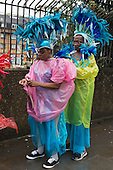 London, England. 31 August 2015. Performers and revellers were in good spirits despite a second years of heavy rain on the Adult Day of Notting Hill Carnival. Photo: Bettina Strenske