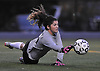 Carle Place goalie Gianna Marasco reacts to a shot during the varsity girls' soccer Class B Long Island Championship against Center Moriches at Adelphi University on Saturday, November 7, 2015. Center Moriches won 3-2 in overtime.