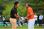 (L to R) Hideki Matsuyama (JPN), Touru Taniguchi (JPN), .May 16, 2013 - Golf : .PGA Championship Nissin Cup Noodles Cup 2013, 1st Round .at Sobu Country Club, Chiba, Japan. .(Photo by Daiju Kitamura/AFLO SPORT)