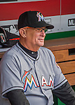 7 April 2016: Miami Marlins first base coach Perry Hill sits ready in the dugout prior to the Washington Nationals Home Opening Game at Nationals Park in Washington, DC. The Marlins defeated the Nationals 6-4 in their first meeting of the 2016 MLB season. Mandatory Credit: Ed Wolfstein Photo *** RAW (NEF) Image File Available ***