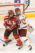 Kelly Sabatine (SLU - 16), Jessica Martino (BC - 26) - The Boston College Eagles defeated the visiting St. Lawrence University Saints 6-3 (EN) in their NCAA Quarterfinal match on Saturday, March 10, 2012, at Kelley Rink in Conte Forum in Chestnut Hill, Massachusetts.