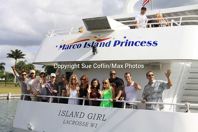 Actors - Thorsten Kaye, Walt Willey, Eric Martsolf, Kristen and Eddie Alderson, Lindsey Morgan, Erik Valdez, Melissa Archer, Sean Ringgold, Susan Haskell, Christian LeBlanc and Jeff Branson pose at SoapFest's Celebrity Weekend - Cruisin' and Schmoozin' on the Marco Island Princess - mix and mingle and watching dolphins - autographs, photos, live auction raising money for kids on November 11, 2012 Marco Island, Florida. (Photo by Sue Coflin/Max Photos)