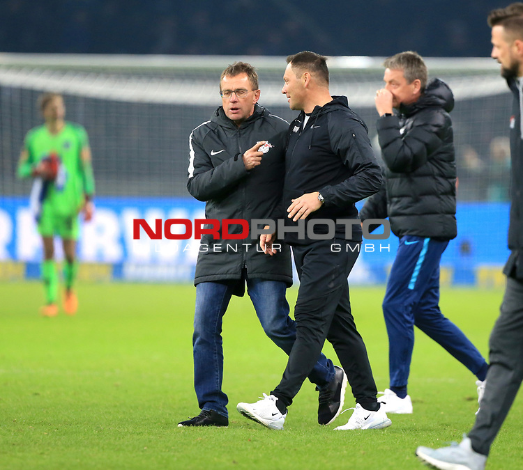 03.11.2018, OLympiastadion, Berlin, GER, DFL, 1.FBL, Hertha BSC VS. RB Leipzig, <br /> DFL  regulations prohibit any use of photographs as image sequences and/or quasi-video<br /> <br /> im Bild Cheftrainer (Head Coach) Pal Dardai (Hertha BSC Berlin), Trainer, Ralf Rangnick (RB Leipzig), Co-Trainer Rainer Widmayer (Hertha BSC Berlin)<br /> <br />       <br /> Foto © nordphoto / Engler